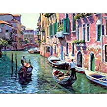 Diy Oil Painting Paint by Number Kit with Scenery Peaple 16x20inch (Frameless,Venice River channel)