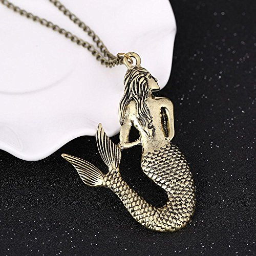 Style Alloy Long Bronze Retro Sweater Pendant Sweater Chain Mermaid Necklace