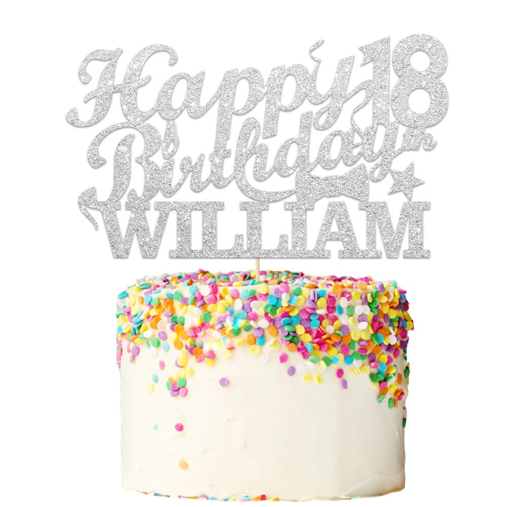 Howson London Happy 18th Birthday Cake Topper 30 21 40 60. Personalised 400 Gram Double Sided Glitter Cake Decoration Custom Any Name Any Age 18 50