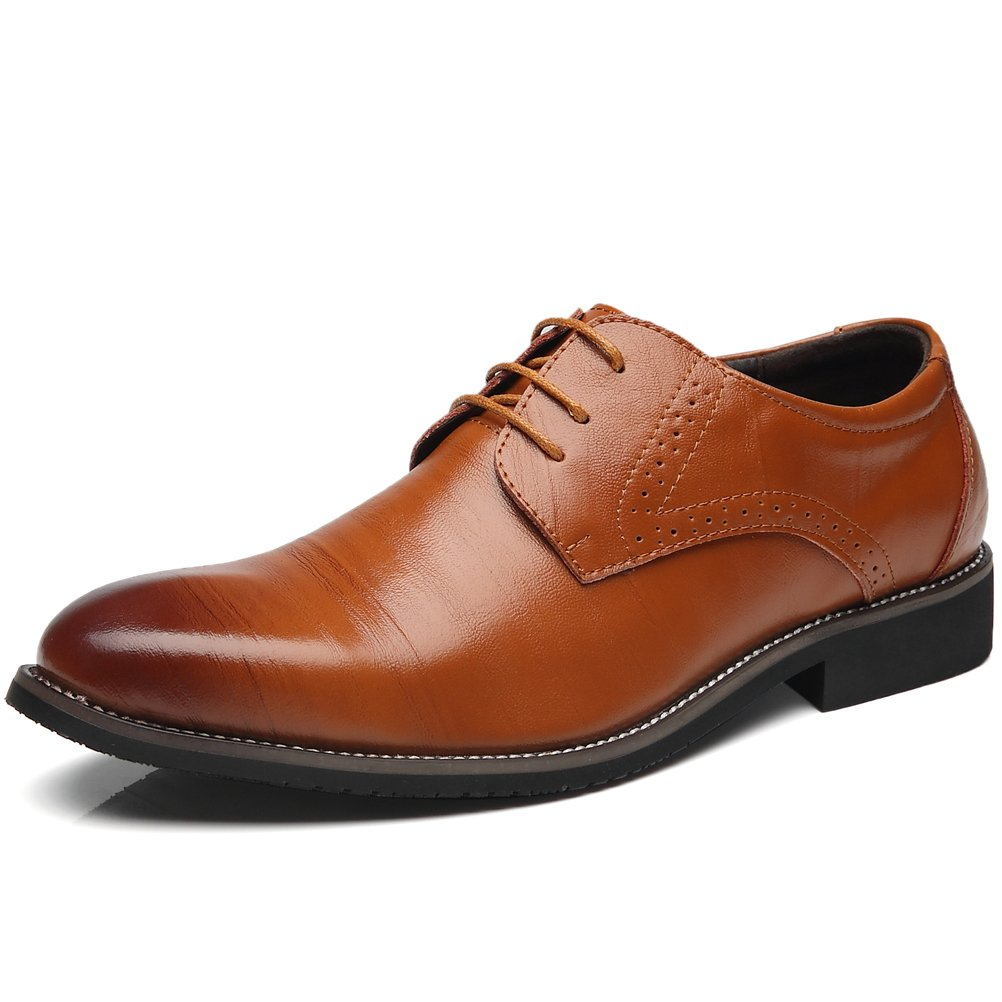 Senyee Men's Casual Oxford Dress Shoes, Classic Modern Round-Toe Brogue Lace Up Wingtip Leather Oxfords Brown 11
