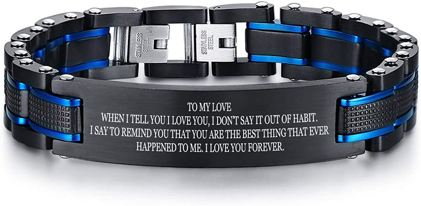 VNOX Personalized Customize Anniversary Couple Jewelry Carbon Fiber Stainless Steel Matching Bracelet