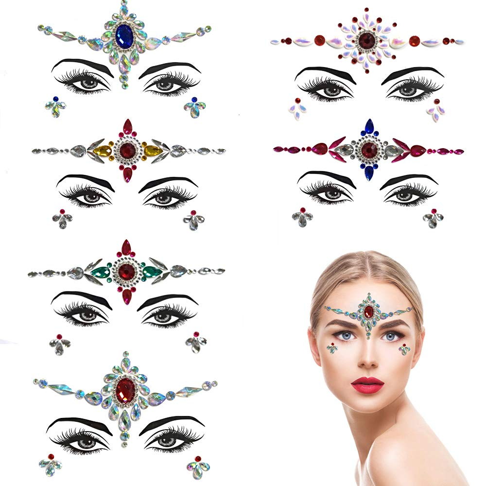 ZLXIN Face Gems Temporary Tattoo Stickers Acrylic Crystal Glitter Stickers Waterproof Face Jewels Rainbow Tears Rhinestone Eye Decoration for Party, Rave Festival, Dress-up (6 Pcs A Set) (Style 5)