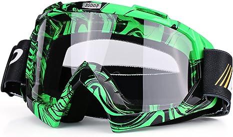 Green,White Qiilu Dirt Bike Occhiali da Sole di Protezione Maschera Occhialoni per Attivit/à Esterna Motocicletta