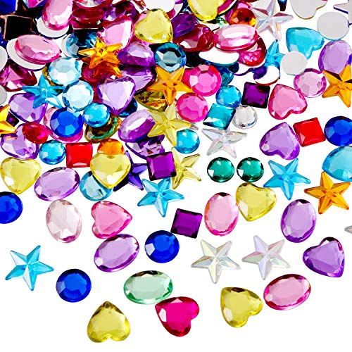 Blulu 600 Pieces Gems Acrylic Craft Jewels Flatback Rhinestones Gemstone Embellishments Heart Star Square Oval and Round, Assorted Color (8 to 14 mm)