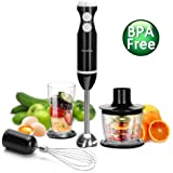 Hand Blender - Inofia 4 in 1 Powerful Immersion Hand Blender Set - Variable 5 Speed Control - Includes Food Chopper, Egg Whisk, and BPA-Free Beaker (700ML) - Black