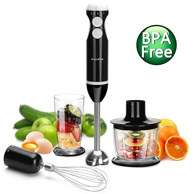 Hand Blender, Inofia 4 in 1 Powerful Immersion Hand Blender Set,Variable 5 Speed Control - Includes Food Chopper, Egg Whisk, and BPA-Free Beaker (700ML) - Black