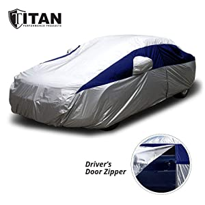 Titan Lightweight Car Cover (Silver with Blue) | Outdoor Waterproof Cover for Toyota Camry and More | Measures 200 Inches, Comes with 7 Foot Cable and Lock, Features a Driver-Side Zippered Opening