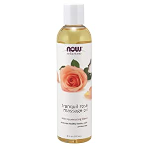 NOW Solutions, Tranquil Rose Massage Oil, Body Moisturizer for Dry Sensitive Skin, Promotes Healthy-Looking Skin, 8-Ounce