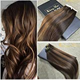 Sunny 22inch 20pcs 50g Two Tone Dark Brown Mixed Honey Blonde Colorful Highlight Seamless Tape in Human Hair Extensions