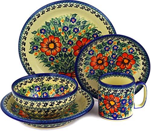 - Polish Pottery Place Setting 5-Piece: Mug, Bowl, Pasta Bowl, Dinner Plate, Dessert Plate (Wild Bouquet Theme) Signature UNIKAT + Certificate of Authenticity