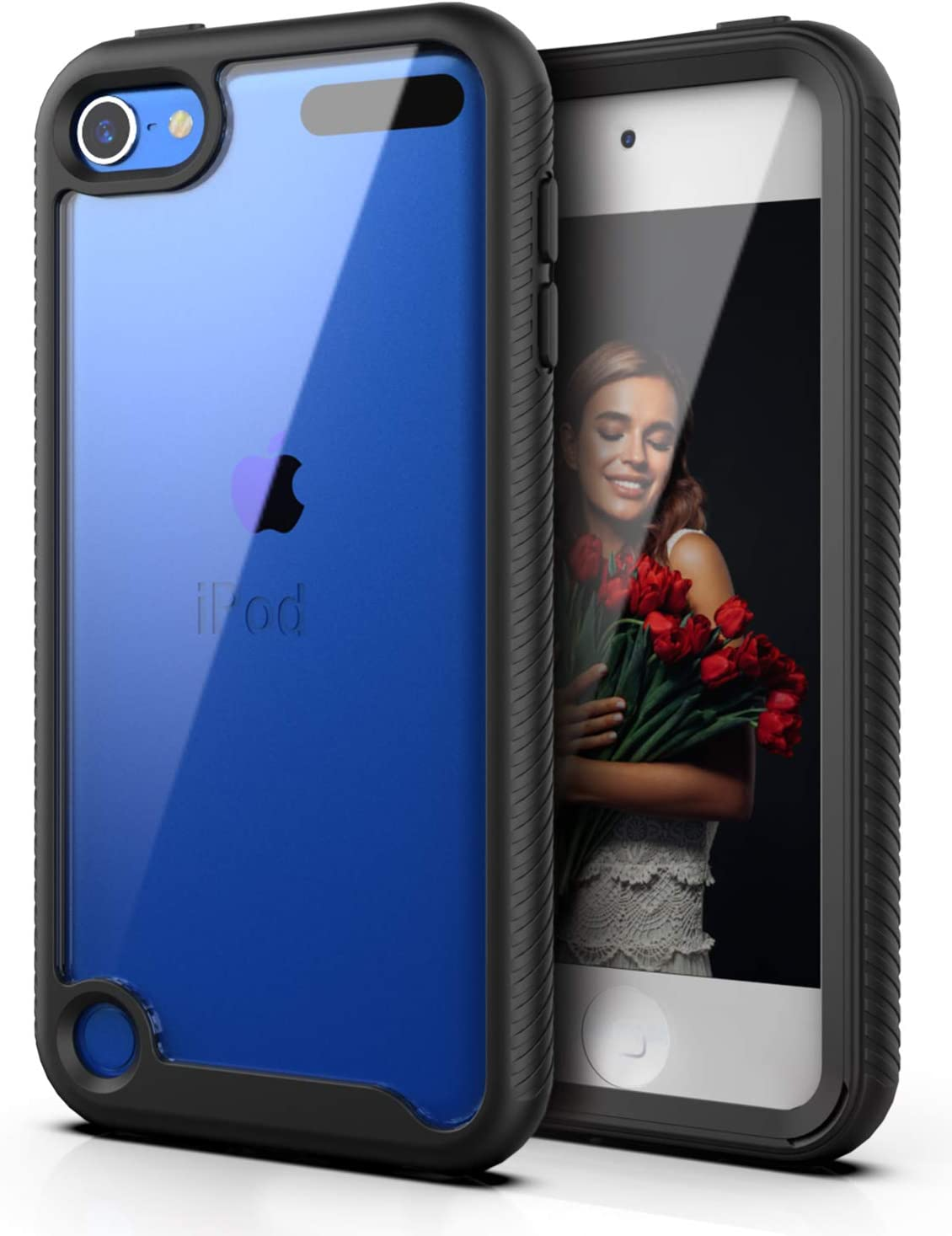 QQcase iPod Touch 7 / iPod Touch 6/ iPod Touch 5,Dual Layer Hybrid Anti-Slip Sturdy Case Rugged Shockproof Case for Apple iPod Touch 7th/6th/5th Generation Black