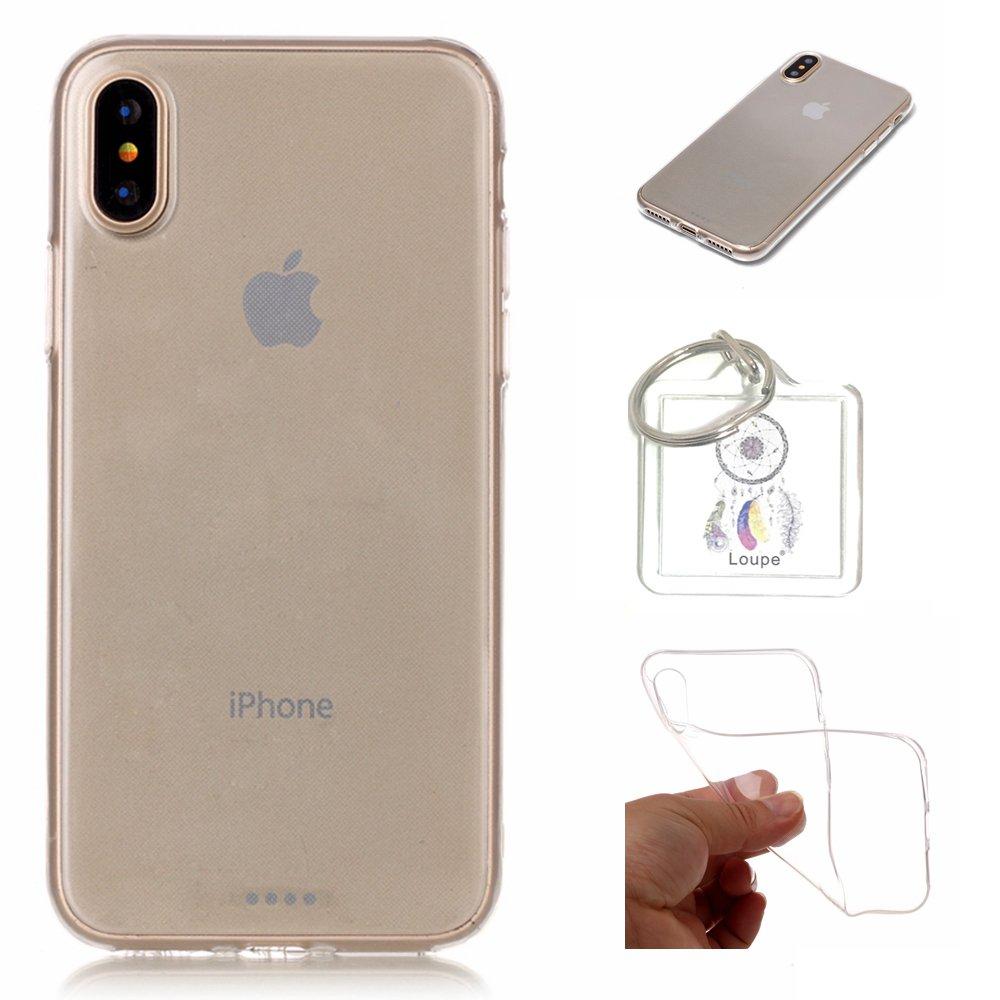 Hü lle iPhone X Hü lle Soft Flex Transparent Silikon TPU Handyhü lle Schutzhü lle fü r iPhone X Case Cover - Crystal Clear + Schlü sselanhä nger (P) (1) Lohpe