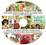 """25 Vintage Victorian Scrap Images Collage Sheets Collection #2, 8.5 x 11"""" Printable sheets On CD Printable in jpg pdf Scrapbooking, Altered Art, Decoupage"""