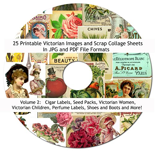 Paper Collage Earrings (25 Vintage Victorian Scrap Images Collage Sheets Collection #2, 8.5 x 11