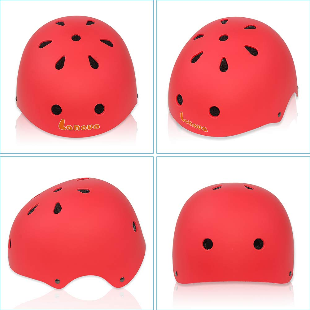 LANOVAGEAR Kids Toddler Cycling Bicycle Protective Gear Set 7pcs Boy Girl Adjustable Helmet Elbow Knee Wrist Pads for Multi Sports Skateboarding Rollerblading Bike (Red, Small) by LANOVAGEAR (Image #3)