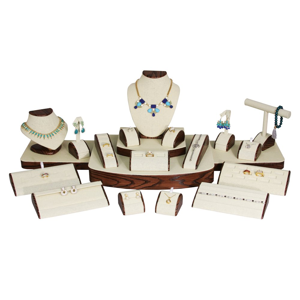 (21-Pc Set) Beige Linen with Wood Pattern Trim Jewelry Display Set (Set60-N33) 37'' x 18'' x 11 5/8'' H by EDS (Image #1)