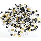 KATCHON 50th Birthday and Anniversary Confetti - 1.7 Oz | Gold Black and Silver 50 Number Confetti | 50th Birthday Party Supplies | Metallic Foil Confetti for Table Decorations