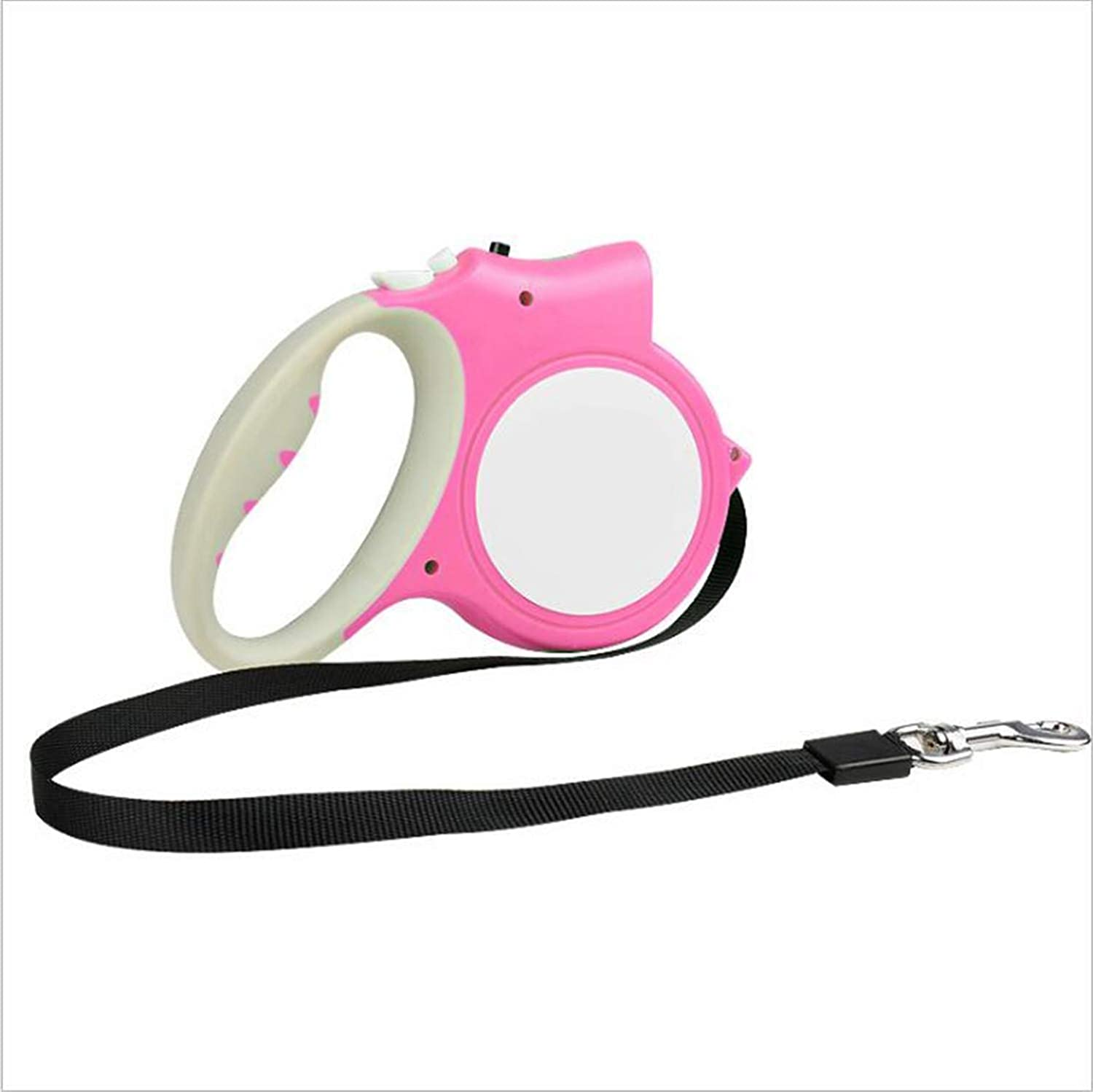 Pink Dog Leash,with Lighting Equipment,Extendable and Retractable Rope, Small Medium Large Dogs,one Hand to Operate,Safe in Night,5M