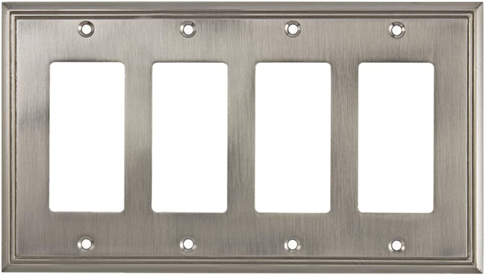 Rok Hardware Wall Plate Contemporary Decorative Rocker/GFCI Switch Plate (Brushed Nickel, 4 Gang)