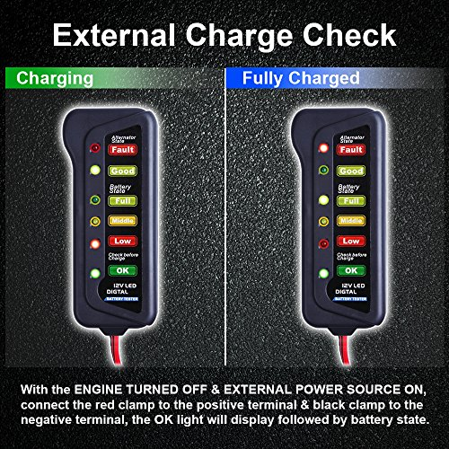 LED indication Test Battery Condition /& Alternator Charging Cartman 12V Car Battery /& Alternator Tester