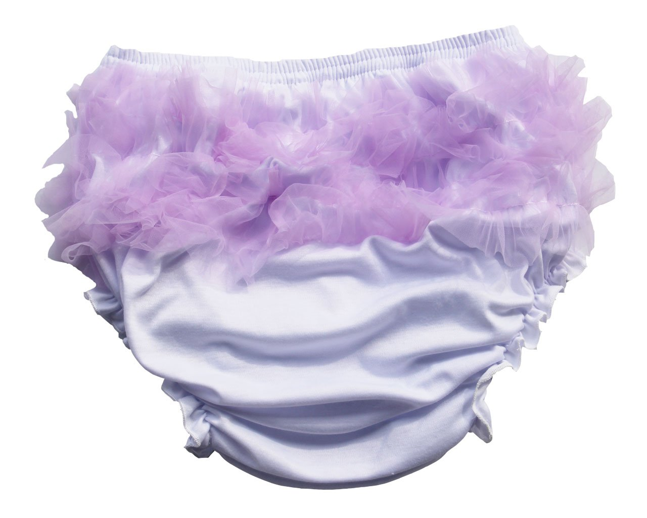 Haian ABDL Girls Ruffle Panties Chiffon Bloomers Diaper Cover (Medium, White & Purple) Lang Kee