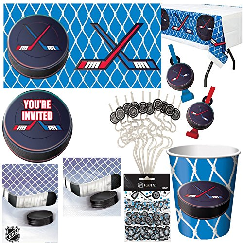 HOCKEY NHL Birthday Party Kit Supplies Table cover Invitations (8 ct) Cups (8 ct) Loot Bags (8 ct) Bev Napkins (8 ct) Confetti Krazy Straws Blowouts (8 ct)