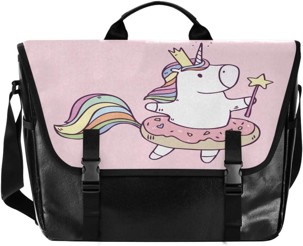 ALAZA Unicorn Princess with Donut Messenger Bag 15.6 Inch Waterproof Canvas Satchel Briefcase Shoulder Bag Business Computer Laptop for Men Boy Teen