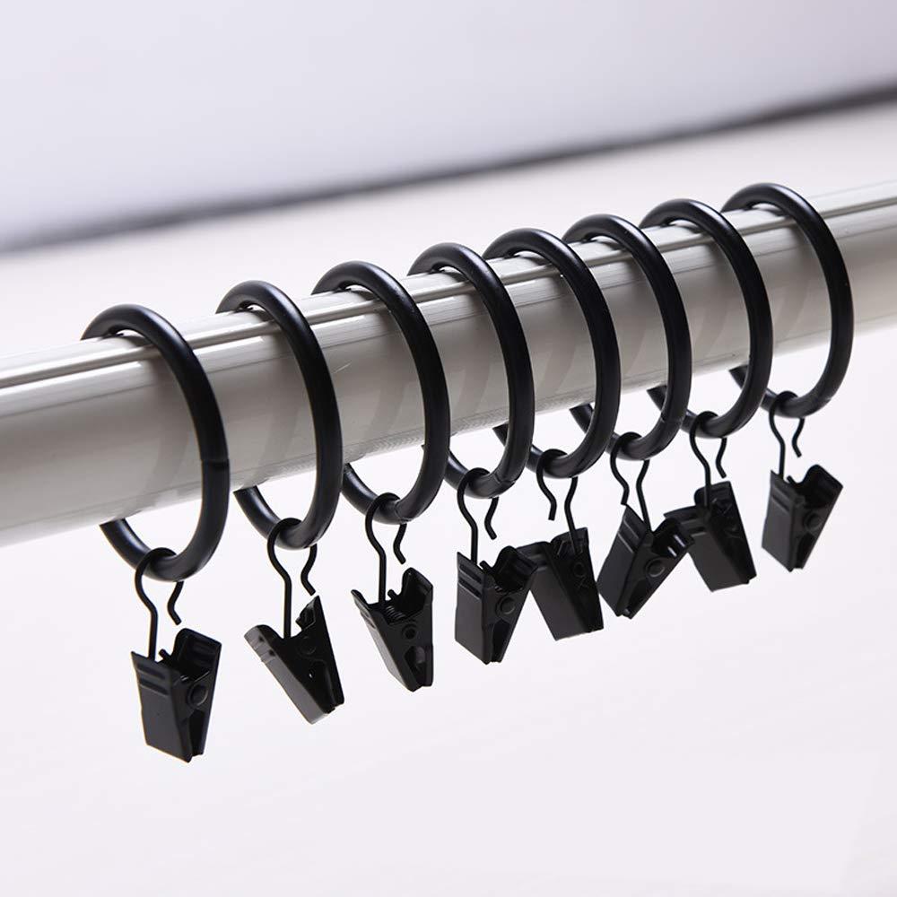 Musuntas Lot de 30 clips pour rideauxClips pour rideaux avec anneaux de 35 mm de diamètre à usage multiple - Noir