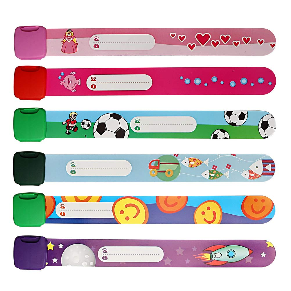 nuosen 6 Piece Emergency Bracelet for Child, Child Safety ID Wristband Waterproof Safety Wristband Name Wrist Bands (Multicolor)