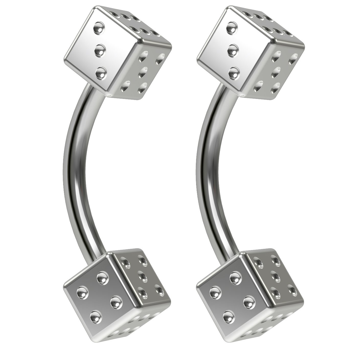 2pc 16g Dice Curved Barbell 5//16 8mm Bar Cool Novelty Cute Earrings Cartilage Curve Piercing Jewelry