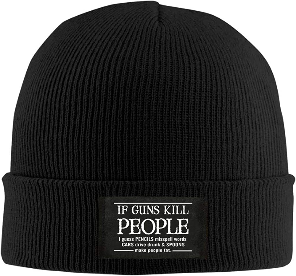 DLOAHJZH-Q Adult Unisex If Guns Kill People Pencils Misspell Words Street Style Knitted Hat