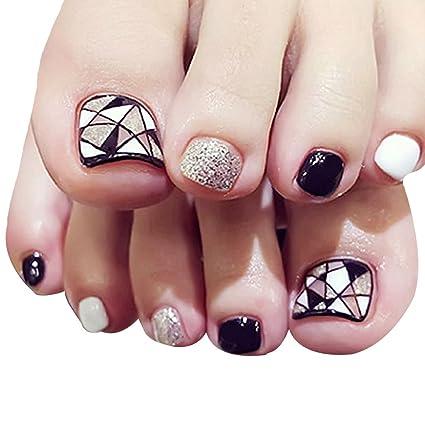 24 uñas postizas para los dedos del pie de LA HAUTE, pedicura DIY, uñas artísticas