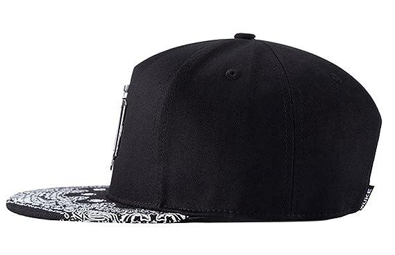 Aivtalk - Snapback Gorra de Béisbol Negro Ajustable Sombrero Plano Moda Accesorio Hombres Mujeres: Amazon.es: Ropa y accesorios