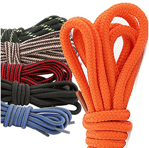 DailyShoes Round Hiking Boot Shoelaces Strong Durable Stylish Shoe Laces Quintessential Hazel , (Great for ) Black Lime 78