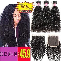 WENYU Hair Brazilian Virgin Curly Hair 3 Bundles with Lace Closure Brazilian Kinky Curly Human Hair Bundles with 4x4 Lace Closure Natural Black (10 12 14 W 10)