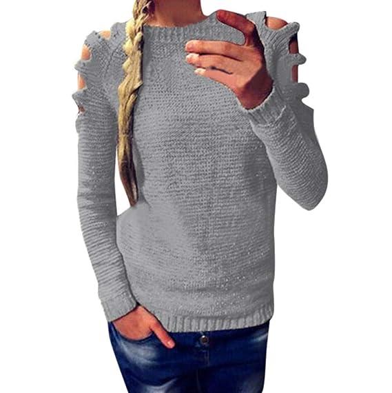 BaZhaHei-Jersey Jerséy de Manga Larga para Mujer Jersey con Hombros Descubiertos Blusa de Punto de Hombro frío camsietas Superior único Manga Larga con ...