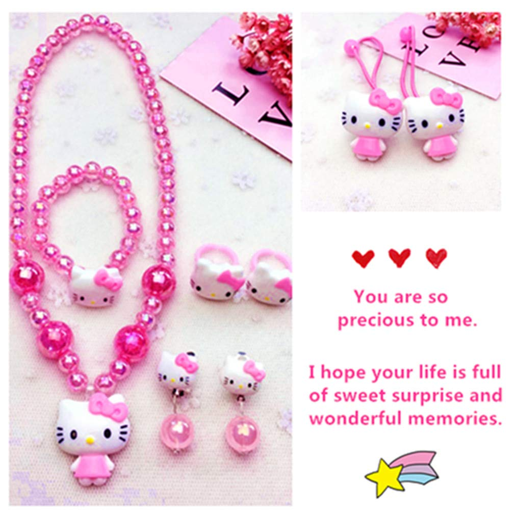 8812ee5e7 Amazon.com: Kerr's Choice ❤Hello Kitty Gifts❤ Hello Kitty Necklace Bracelet  and Pink Hair Accessories for Toddlers, Little Girls | Hello Kitty Gift Set  ...