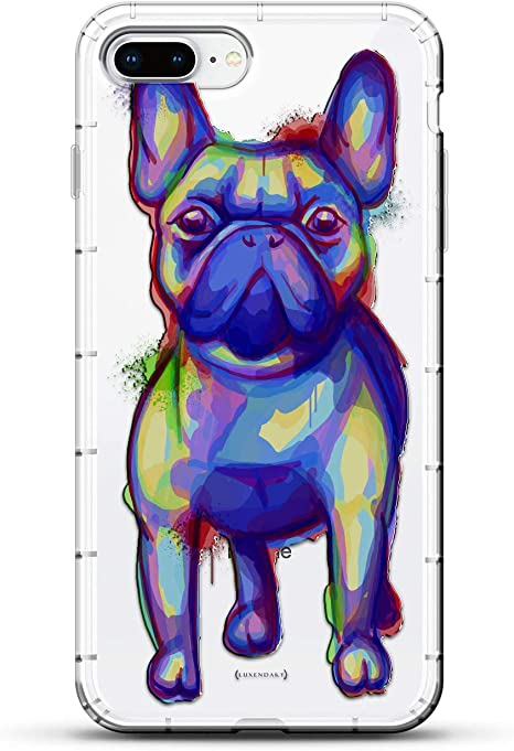 ANIMALS: Trippy Dog Design | Luxendary Air Series Clear Silicone Case with 3D Printed Design and Air-Pocket Cushion Bumper for iPhone 8/7 Plus