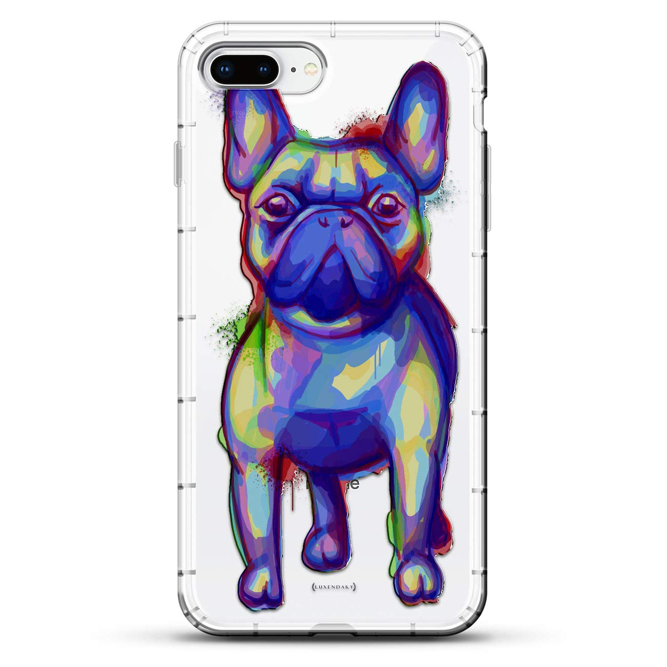 ANIMALS: Trippy Dog Design   Luxendary Air Series Clear Silicone Case with  3D Printed Design and Air-Pocket Cushion Bumper for iPhone 8/7 Plus