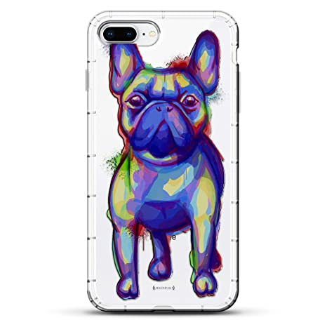 27eb7d77f ANIMALS: Trippy Dog Design | Luxendary Air Series Clear Silicone Case with  3D Printed Design and Air-Pocket Cushion Bumper for iPhone 8/7 Plus