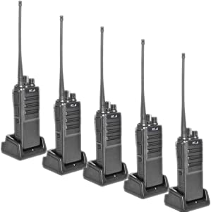 HYS 2 Way Radios UHF 10W Long Range Two Way Radios 16CH Portable Walkie Talkies with USB Programming Cable and Software(5pack)