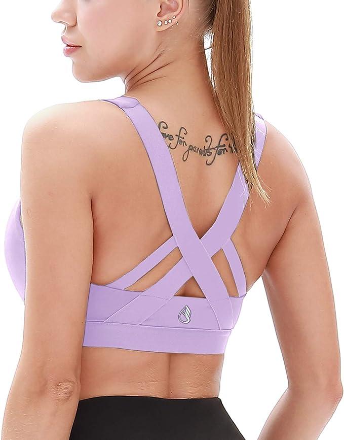 CRZ YOGA Donna Imbottito Reggiseno Sportivo Yoga Spalline Incrociate Top Senza Ferretto