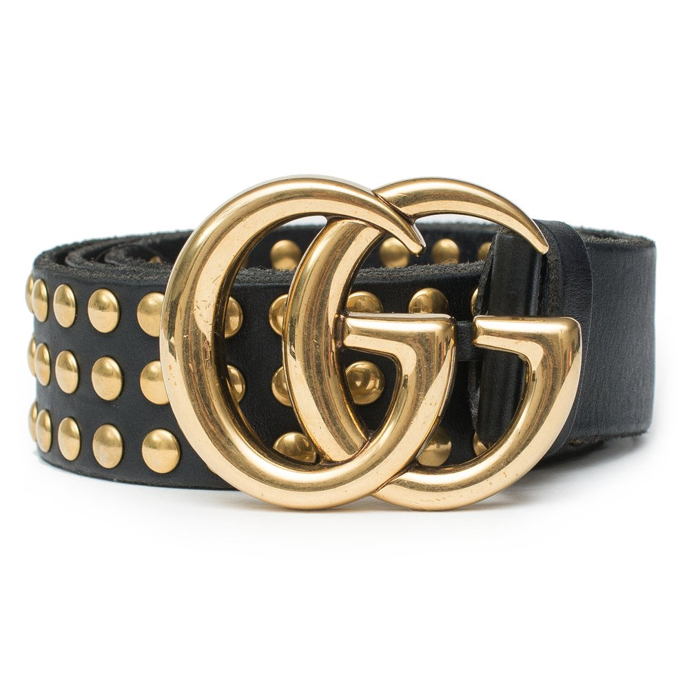 33f4fecb20a Gucci Belt Marmont GG Studded Black Leather Gold Size 90 cm Italy Only 1 New  Made in Italy Gucci Marmont Black Leather GG Studded Gold belt New Only 1  in ...