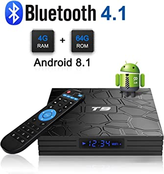 Android 8.1 TV Box, T9 Android TV Box con 4 GB De RAM 64 GB ROM rk3328 Procesador Quad-Core cortex-a53 hasta Bluetooth 4.0 GHz WiFi soporta 4 K2K Ultra h.265 Smart decodificador: