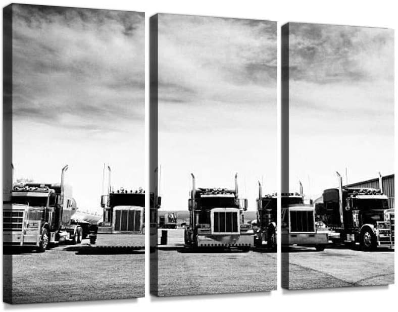 Trucks Convoy, California Black And White Print On Canvas Wall Artwork Modern Photography Home Decor Unique Pattern Stretched and Framed 3 piece