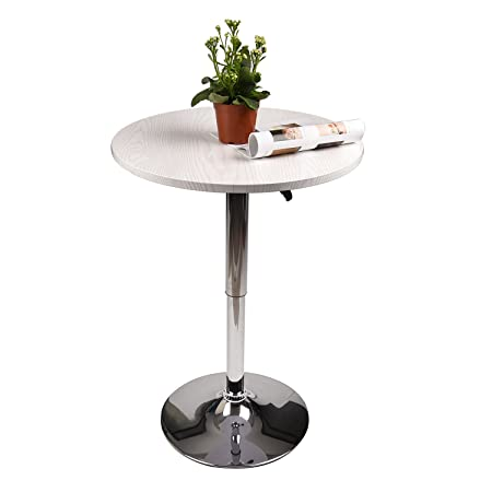 35 Inches Round Bar Table Adjustable Chrome Metal Cocktail Pub Table MDF Top 360 Swivel Furniture White