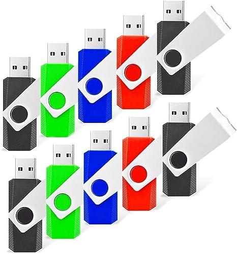 RAOYI 10 Pack 8GB Swivel USB Flash Drive Metal Thumb Drives Pen Drive USB 2.0 Bulk Flash Drive Memory Stick(Black/Red/Blue/Green,4 Mixed Colors): Amazon.es: Electrónica