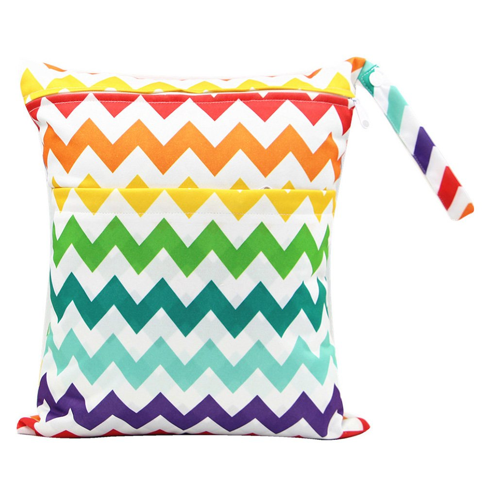 Wet Dry Disaper Baby Cloth Nappy Waterproof Bags, Used in Travel Outdoors Diapers Wet Bags for Infant Women Kids Children with Chevron Rainbow Vidillo wet dry bag