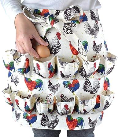 tidystore Tablier de Collecte et de Collecte doeufs de Poulet avec 12 Poches pour la Collecte des Oeufs Tablier doeufs de Cuisine//Ferme Mignon avec Impression de Coq