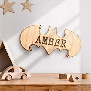 Personalized Wooden Superhero Batman LED Lamp with Name Decor Night Light with 16 Colors Remote Control Custom Natural Wall Sconce Acrylic Engraved Wooden Kids Room Wall Lamp for Boys Friends Gift